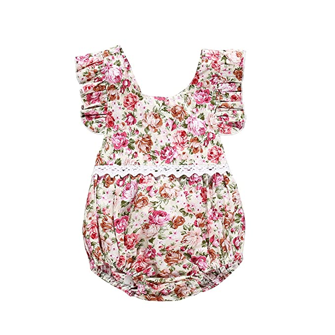 Geagodelia Infant Newborn Baby Girl Romper Jumpsuit Lace Cotton Linen Sleeveless Bodysuit Summer Clothes Outfits