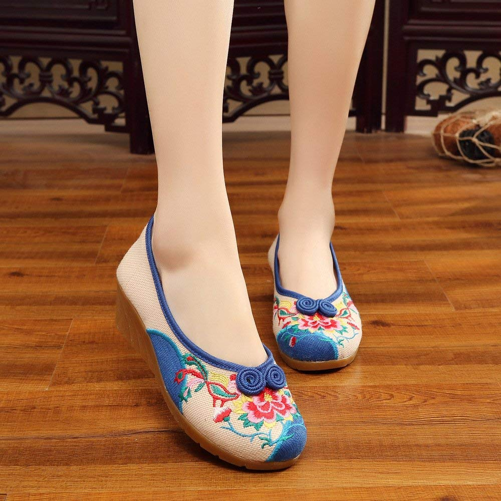 Eeayyygch Bestickte Schuhe Sehnensohle Ethno-Stil weibliche Stoffschuhe Stoffschuhe Stoffschuhe Mode bequem Tanzschuhe Meter weiß 39 (Farbe   - Größe   -) 45cd08
