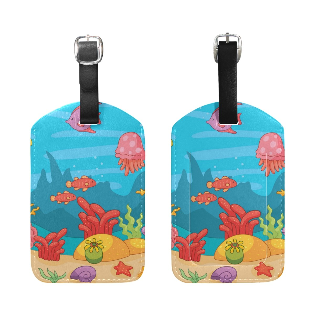 Saobao Travel Luggage Tag Underwater Animals PU Leather Baggage Travel ID