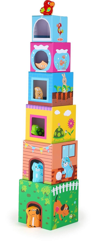 small foot 10044 Bunte Stapelw/ürfel Haustiere aus Pappe Motorikspielzeug mit 6 Haustieren aus Holz ab 12 Monate