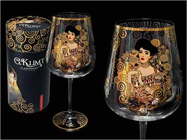 Carmani Verre à Vin Fantaisie Décoré Avec La Peinture Gustav Klimt Adele Bloch Bauer 800 Ml Amazon Fr Cuisine Maison