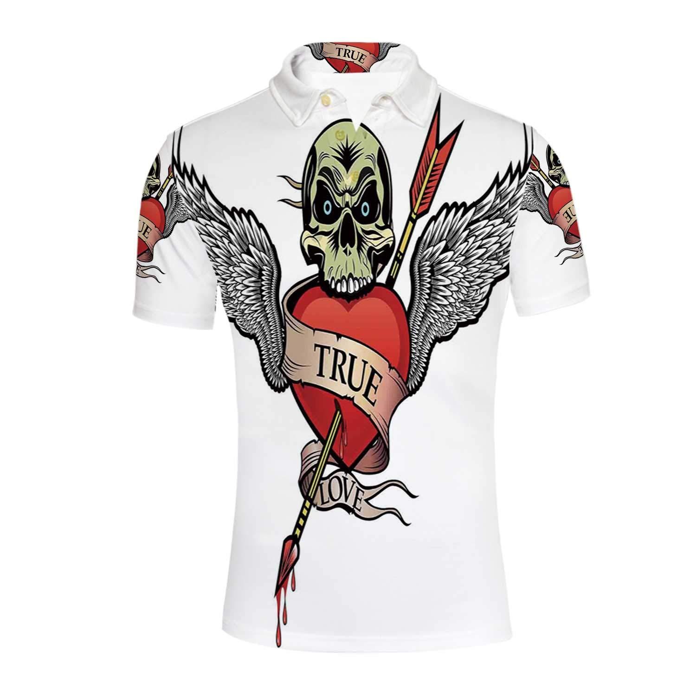 YOLIYANA Tattoo Decor Durable Polo Shirt,for Men,XL