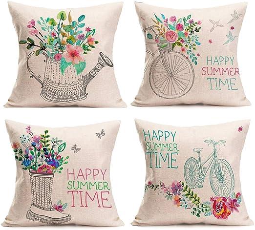 4 PC Fundas Cojines 45x45 Fossrn, Feliz horario de Verano Funda de Almohada para Sofa Jardin Cama Decorativo: Amazon.es: Hogar