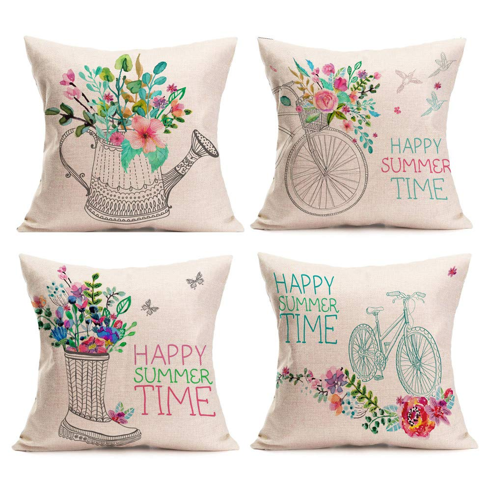 01 GONGting 4 Pack Happy Summer Time Pillow Covers 18x18 Farmhouse Floral Bicycle Cushion Case Decorations for The Home