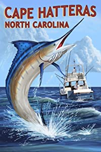 Cape Hatteras, North Carolina - Marlin Fishing Scene (9x12 Art Print, Wall Decor Travel Poster)