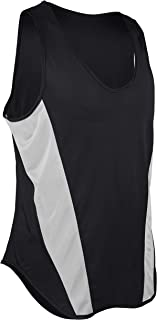 product image for TR-522-CB Men's Performance Sprint Single Ply Lightweight Singlet with Panels (XXX-Large, Black/White)