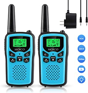 Professional Rechargeable Walkie Talkies,MOICO Long Range Two Way Radios for Adults up to 5 Miles in Open Area,Handheld Talkies Talky with 22 Channels FRS/GMRS VOX Scan LED Flashlight Blue