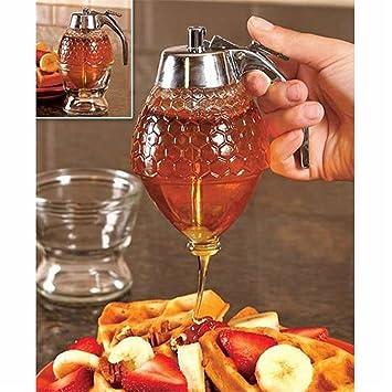 Fontic 200 ml acrílico dispensador de miel tarros de miel con soporte contenedor de miel almacenamiento