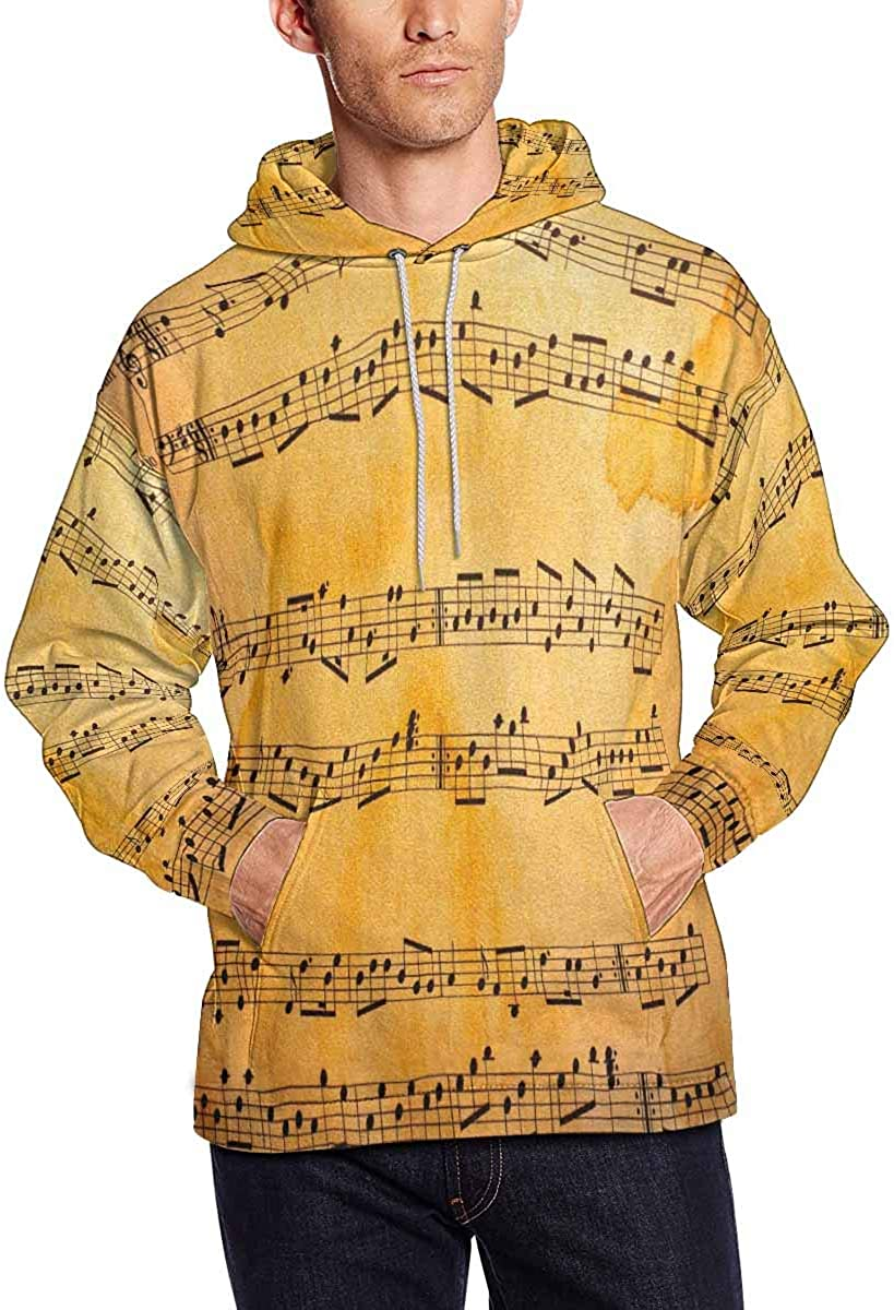 INTERESTPRINT Mens Music Clef in Space with Stars Hoodies Sweatshirt