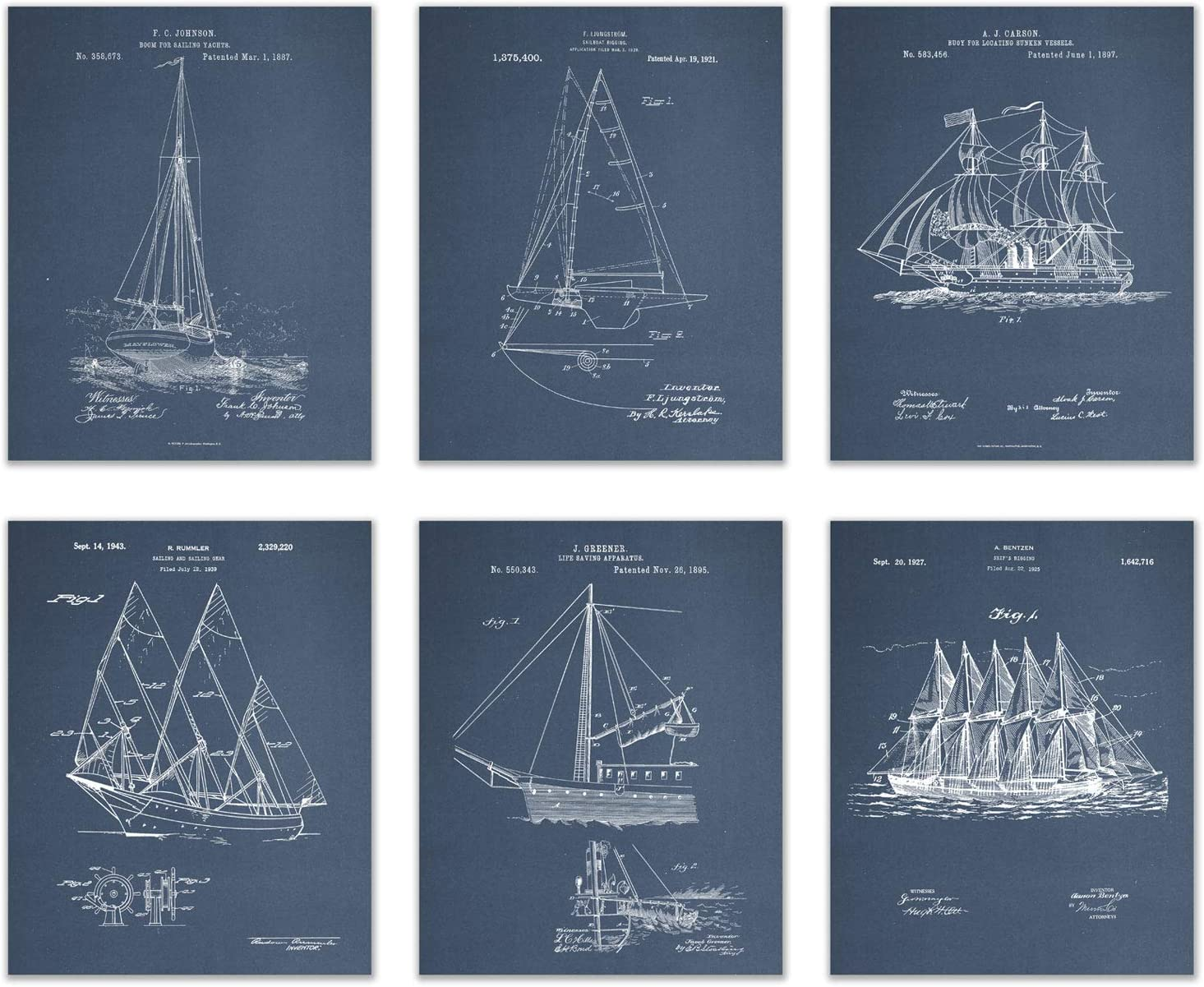BigWigPrints Sailboat Patent Wall Decor - Set of 6 (8x10)