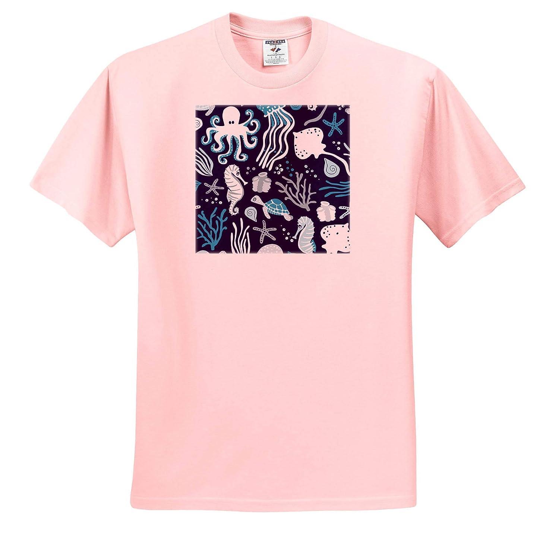 Adult T-Shirt XL Ocean Creatures Deep Blue ts/_310701 3dRose Janna Salak Designs Under The Sea