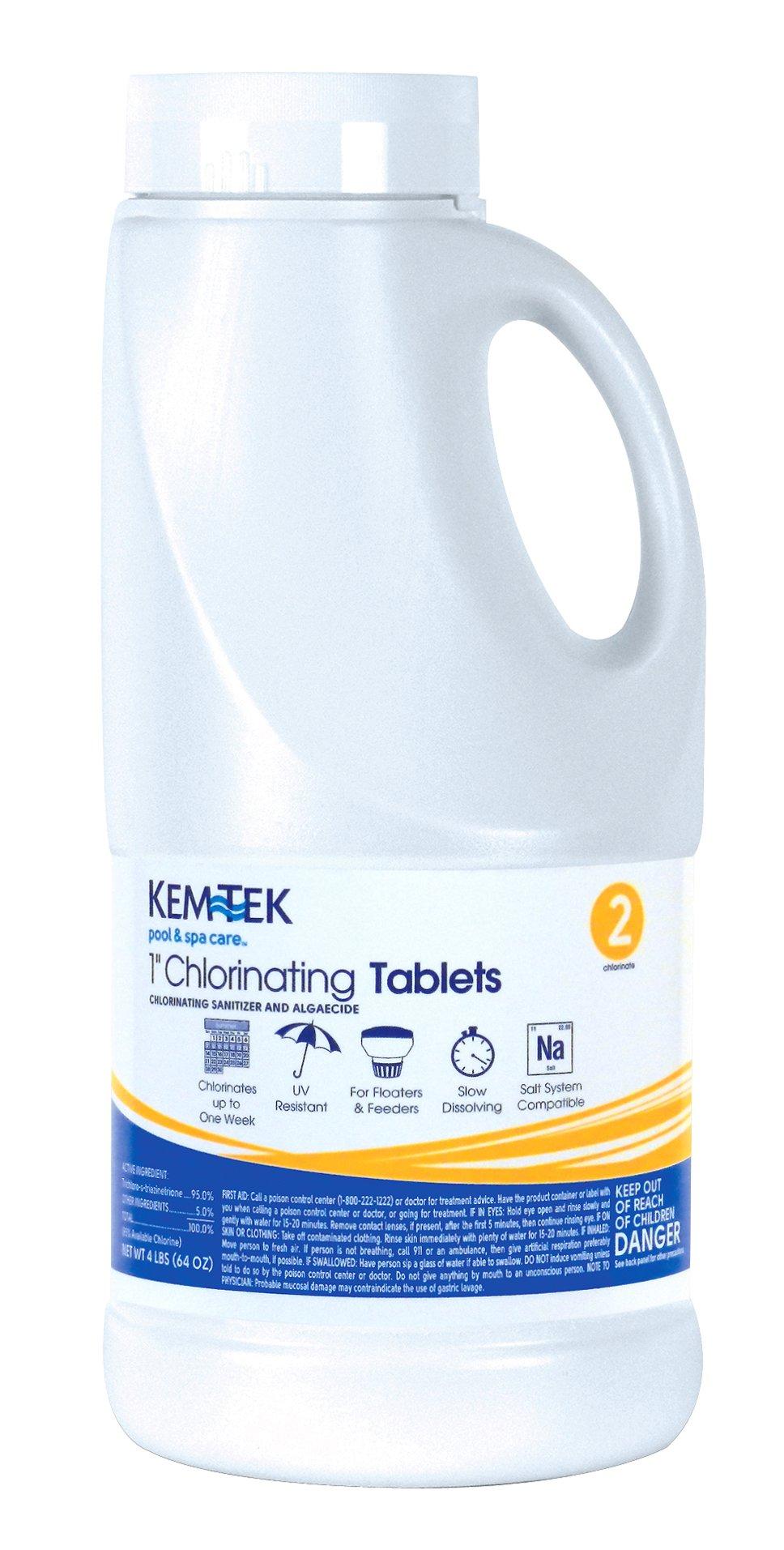 Kem-Tek 177 1-Inch Chlorinating Tablets for Pool and Spa, 4-Pound by Kem-Tek