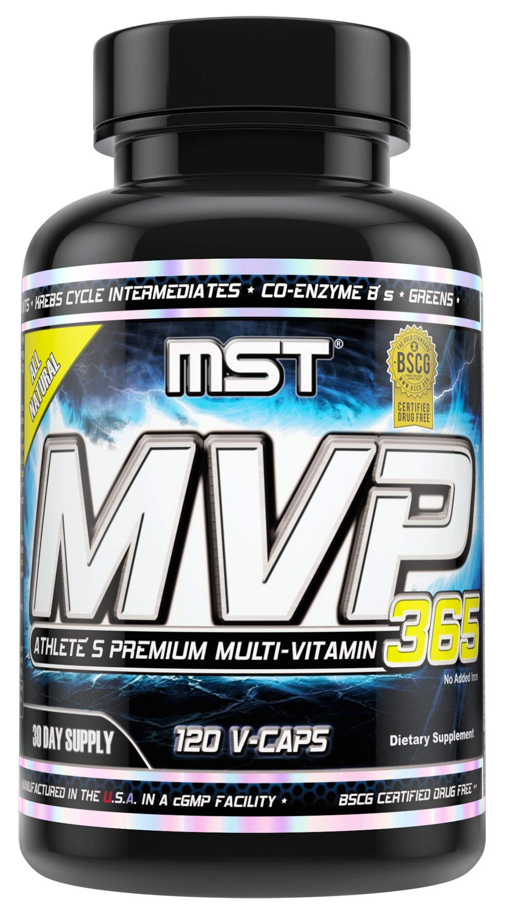 MVP-365 Multi Vitamin, Vitamin C, Vitamin A, 1000iu Vitamin D3, L-5 Methyltetrahydrofolate, Niacin, Pantothenic Acid, 120 V-Caps, BSCG Certified by MST Millennium Sport Technologies