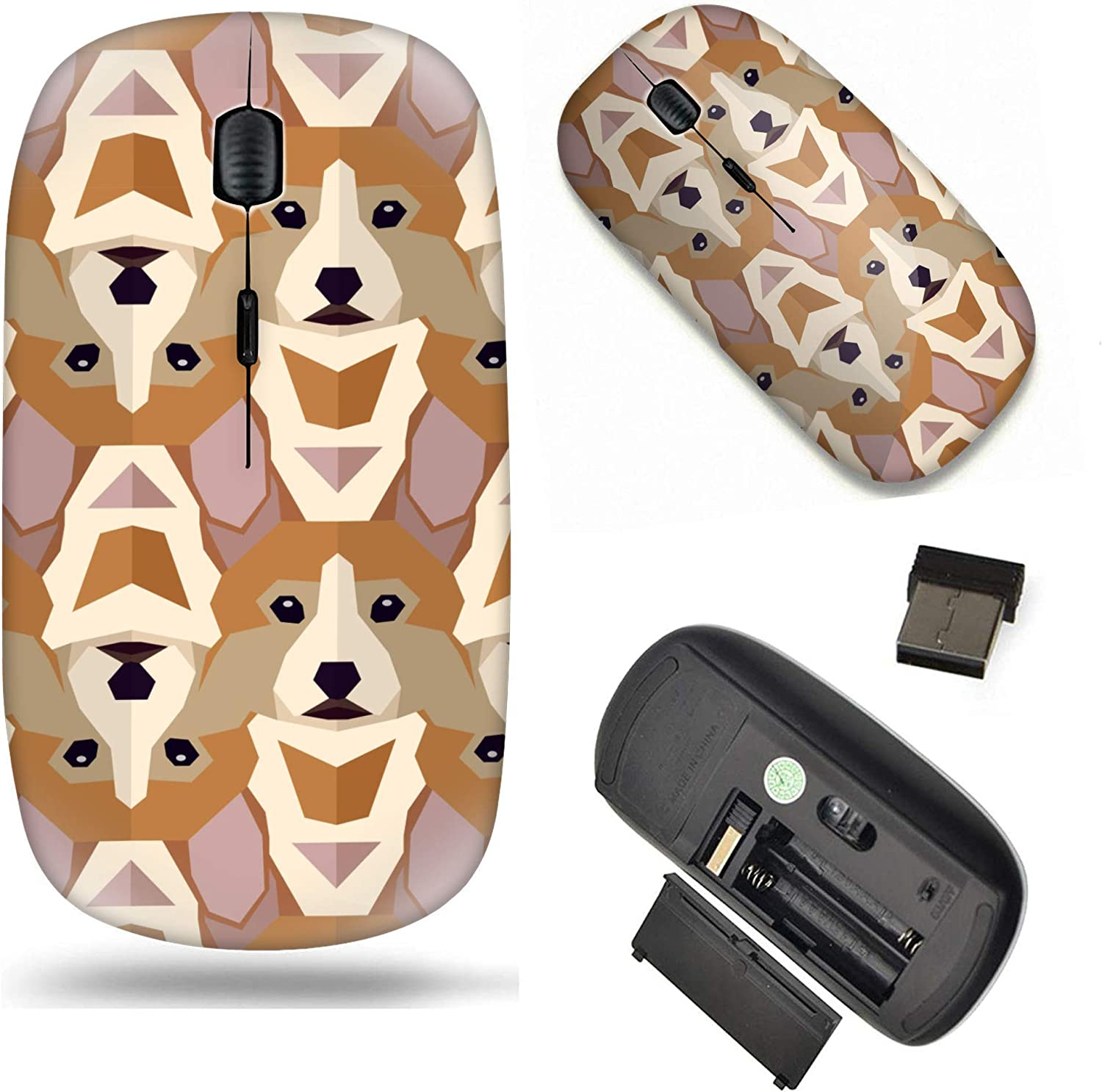 Unique Pattern Optical Mice Mobile Wireless Mouse 2.4G Portable for Notebook Computer PC Laptop Polygonal Pattern with Welsh Corgi