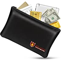 Fireproof Money Safe Document Bag. NON-ITCHY Silicone Coated Fire & Water Resistant Safe Cash Bag. Fireproof Safe…