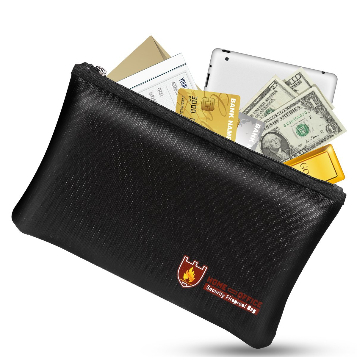 Fireproof Money Safe Document Bag. NON-ITCHY Silicone Coated Fire & Water Resistant Safe Cash Bag. Fireproof Safe Storage for A5 Size File Folder Holder, Money, Document, Ipad, Jewelry and Passport by Bruce store