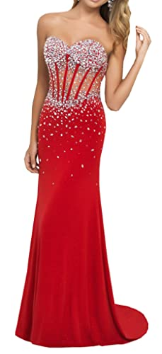 Harshori Sweetheart Corset Style Bodice Strapless Crystals Evening Gown