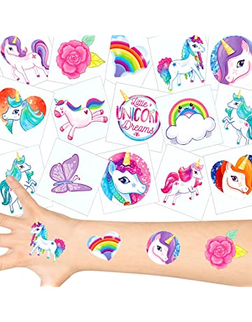 German Trendseller - 36 x Tatuajes temporales Unicornio ┃Fiesta Unicornio┃los Colores del Arco