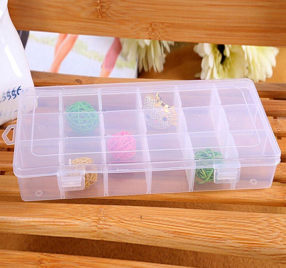 Gespout Bo/îte de Rangement Bo/îte de Rangement /à Bijoux 36 Compartiments en Plastique Diviseurs Amovibles