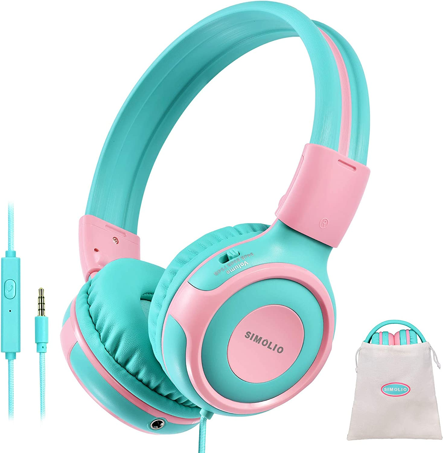 SIMOLIO Kids Headphone with Mic, 75dB,85dB,94dB Volume Limit Share Port, Child Headphones for Tablet/iPad/Kindle/Laptop, Durable Toddler Headphones with Portable Bag, Wired Headsets for Girls, Boys