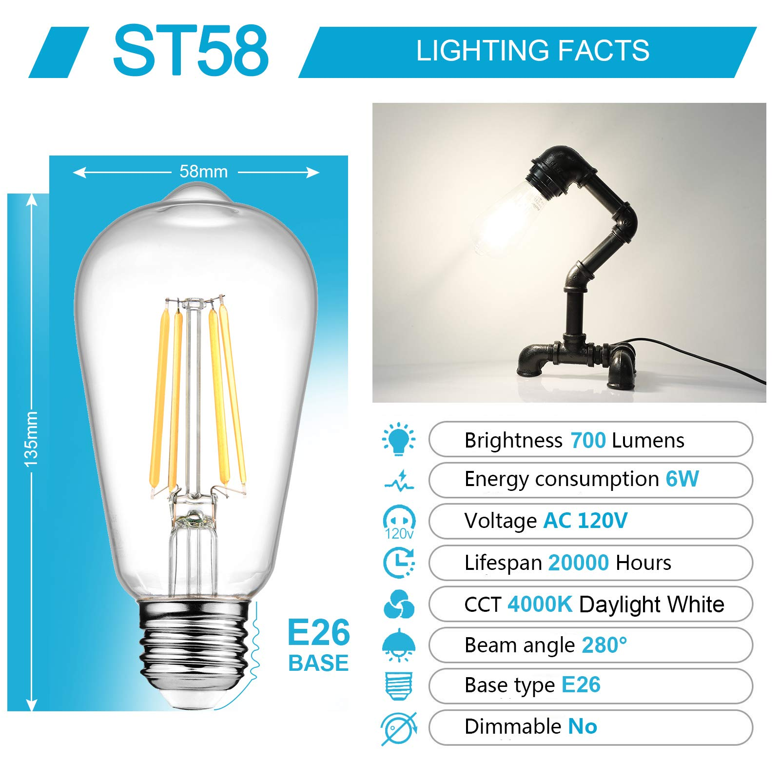 Ascher Vintage LED Edison Bulbs, 6W, Equivalent 60W, High Brightness Daylight White 4000K, ST58 Antique LED Filament Bulbs, E26 Medium Base, Non Dimmable, Clear Glass, Pack of 6 by Ascher (Image #4)