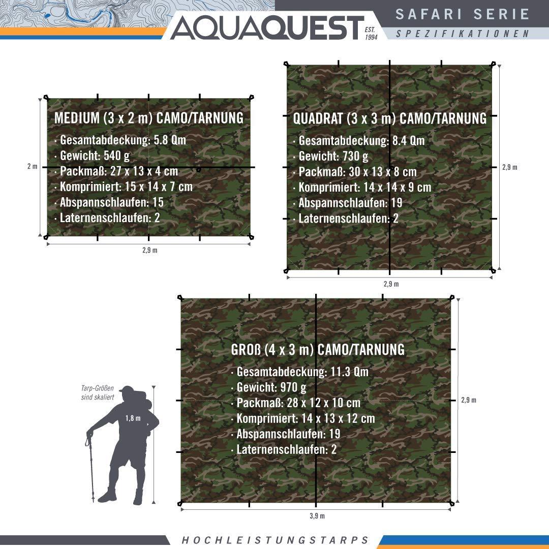 Aqua Quest SAFARI B/âche Grande 4 x 3 m Abri de Tente Imperm/éable et L/éger en Sil Nylon pour Camping 19 /Œillets pour des Options de Configuration Illimit/ées