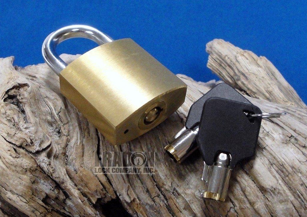 Fradon Lock Small Brass Padlock Tubular Key