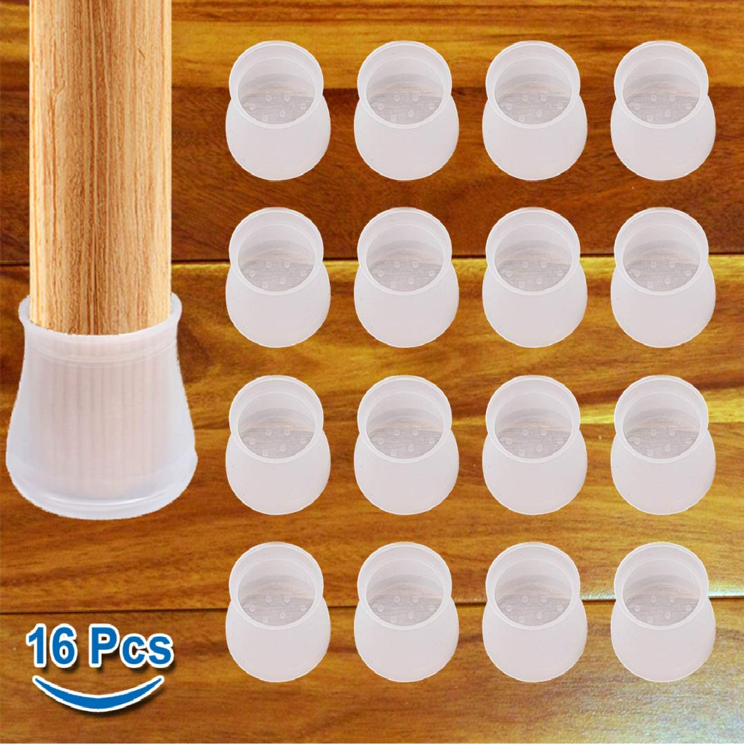 Furniture Silicon Protection Cover - 16 Pcs - Chair Leg Floor Protectors, Round & Square Chair Leg Caps, Prevents Scratches and Noise Without Leaving Marks