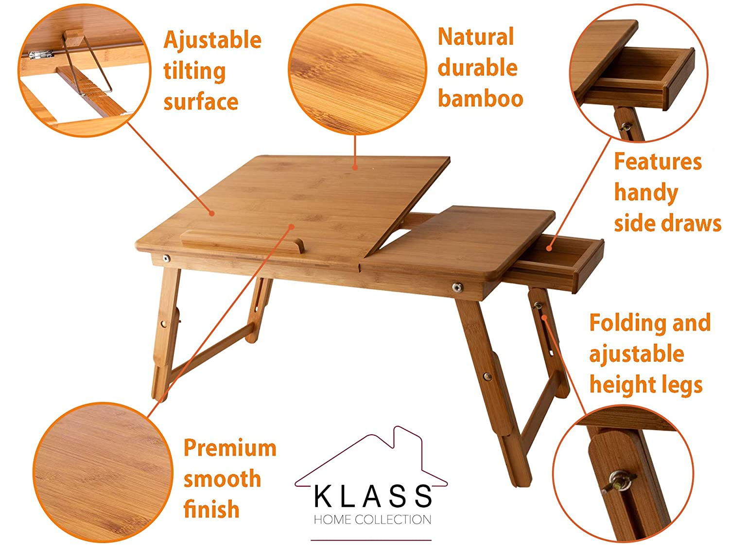 55 x 35 x 23,5 x 35 cm Klass Home Collection/® Laptop-Tablett aus Bambus Holz