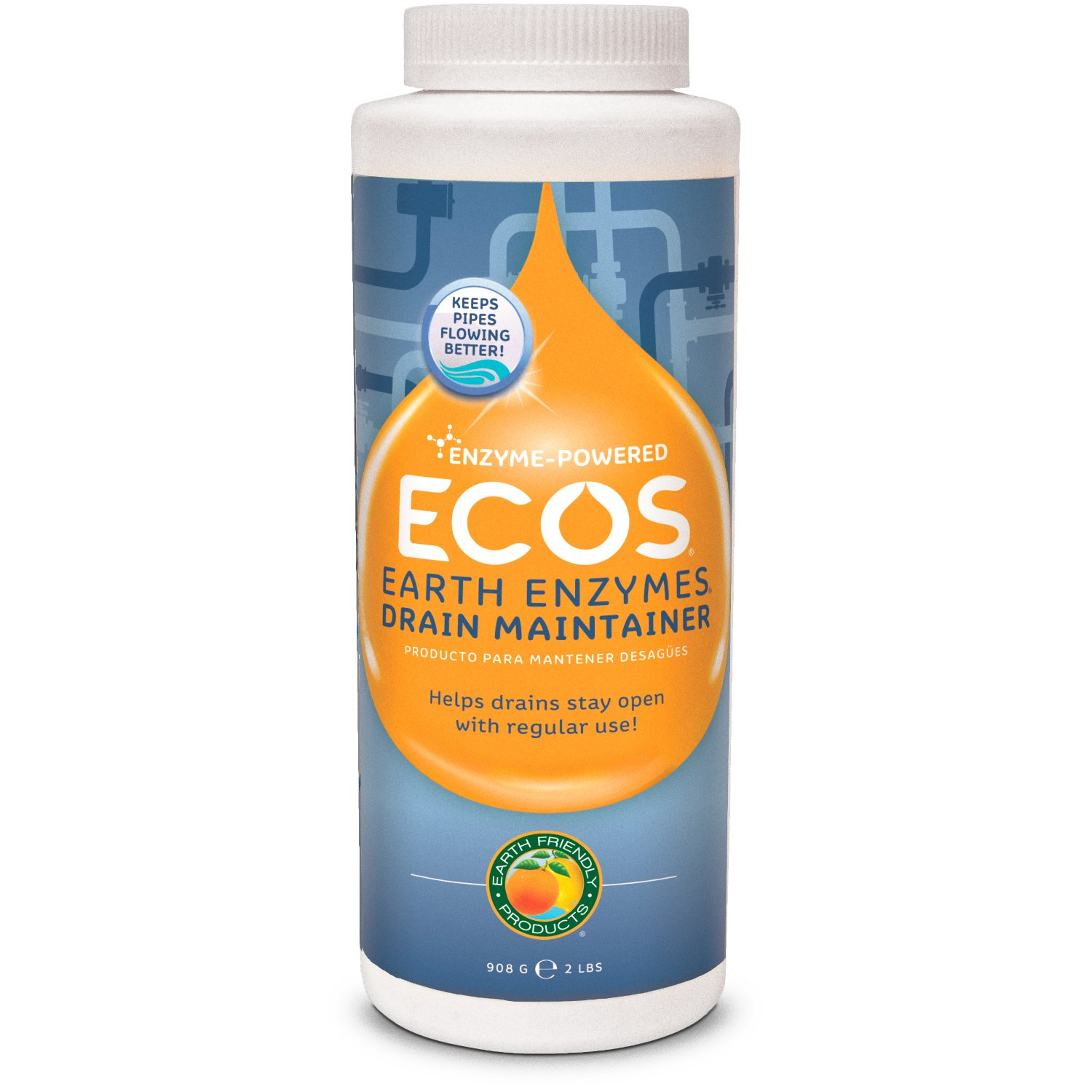 ECOS Earth Enzymes Drain Maintainer - Maintains Free-Flowing Drains. Septic and Greywater Safe. 2 LBS. (Pack of 3)