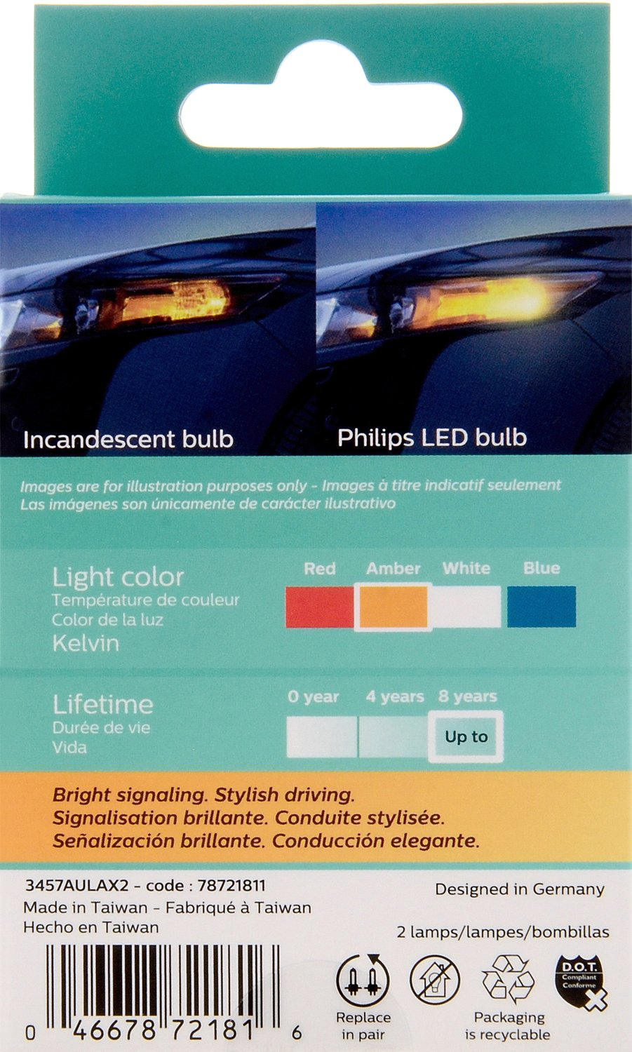 Amazon.com: Philips 3457 Ultinon LED Bulb (Amber), 2 Pack ...
