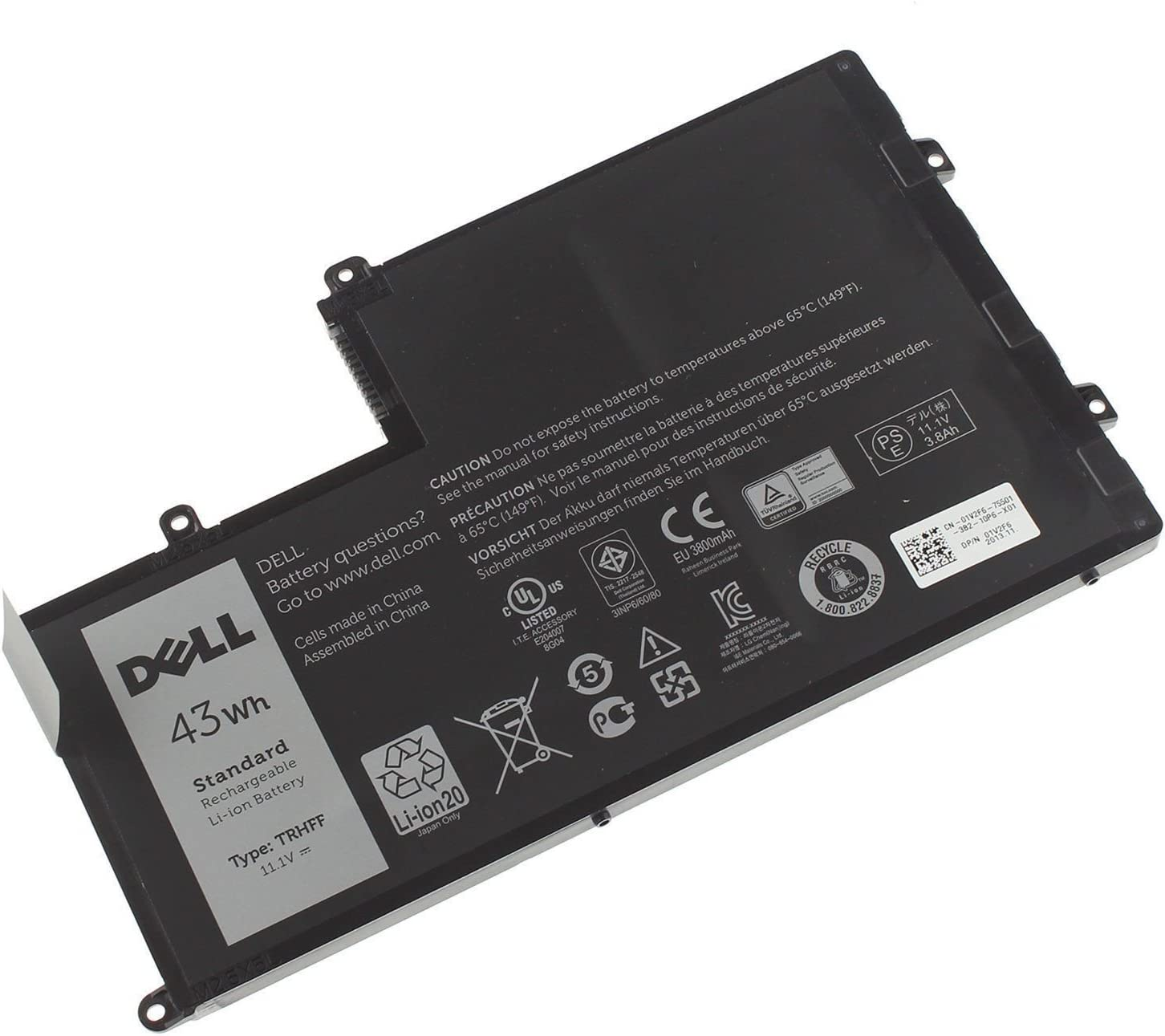 Dell Battery 43Whr 3Cell, 1WWHW, 1V2F6, 7P3X9, 9JF93, J0HDW,