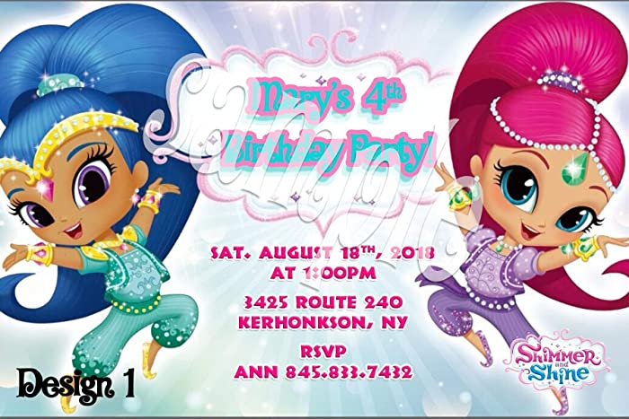 Amazon Shimmer And Shine Personalized Birthday Invitations More