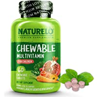 NATURELO Chewable Multivitamin for Children - with Natural Vitamins, Whole Food Minerals, Organic Fruit, Vegetable…