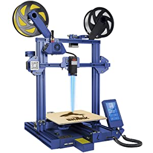 LOTMAXX Shark 3D Printer, 2021 Upgrade FDM 3D Printer with Dual Extruder, Laser Engraving & Dual-Color Printing 2 in 1, 95% Pre-Assembled Metal 3D Printer Machine, Print Size 235x235x265mm, Blue