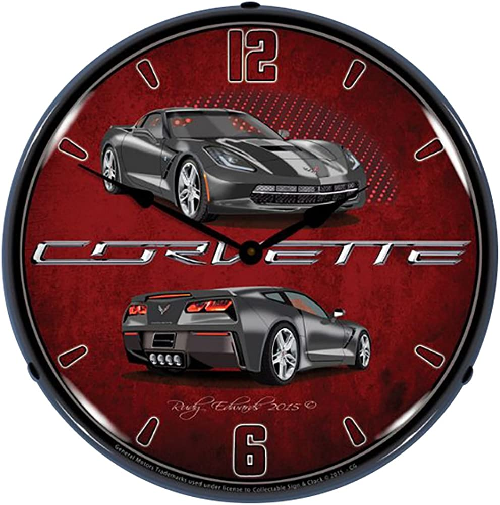 Lighted C7 Corvette Cyber Grey Clock