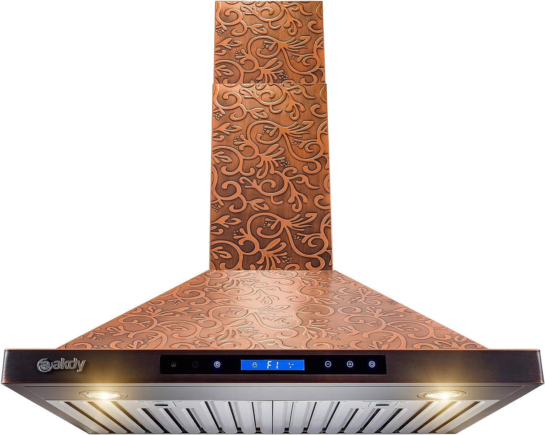 AKDY Wall Mount Range Hood - Embossed Copper Hood Fan for Kitchen
