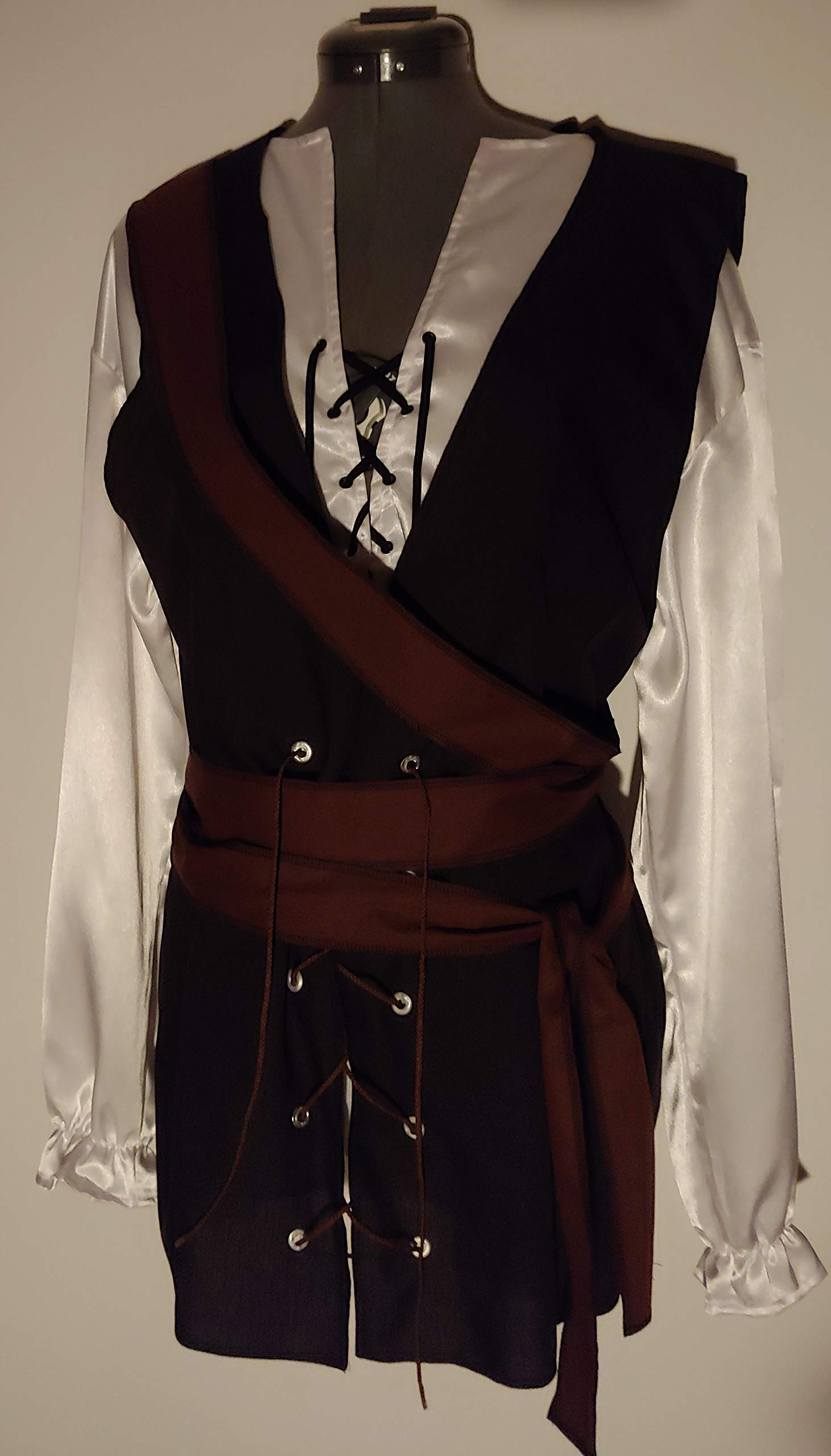 mens adult medium/large light weight black and brown cotton polyester SCA renaissance pirate vest and 138'' extra long brown wrap sash costume costumes (chest 42'')