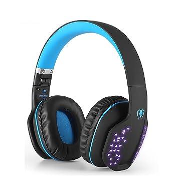 Beexcellent Auriculares Intrauditivos Bluetooth, Auriculares Estéreo Inalámbrico Plegable Bluetooth 4.1 de Alta Fidelidad Reducción de Ruido con Efecto LED ...