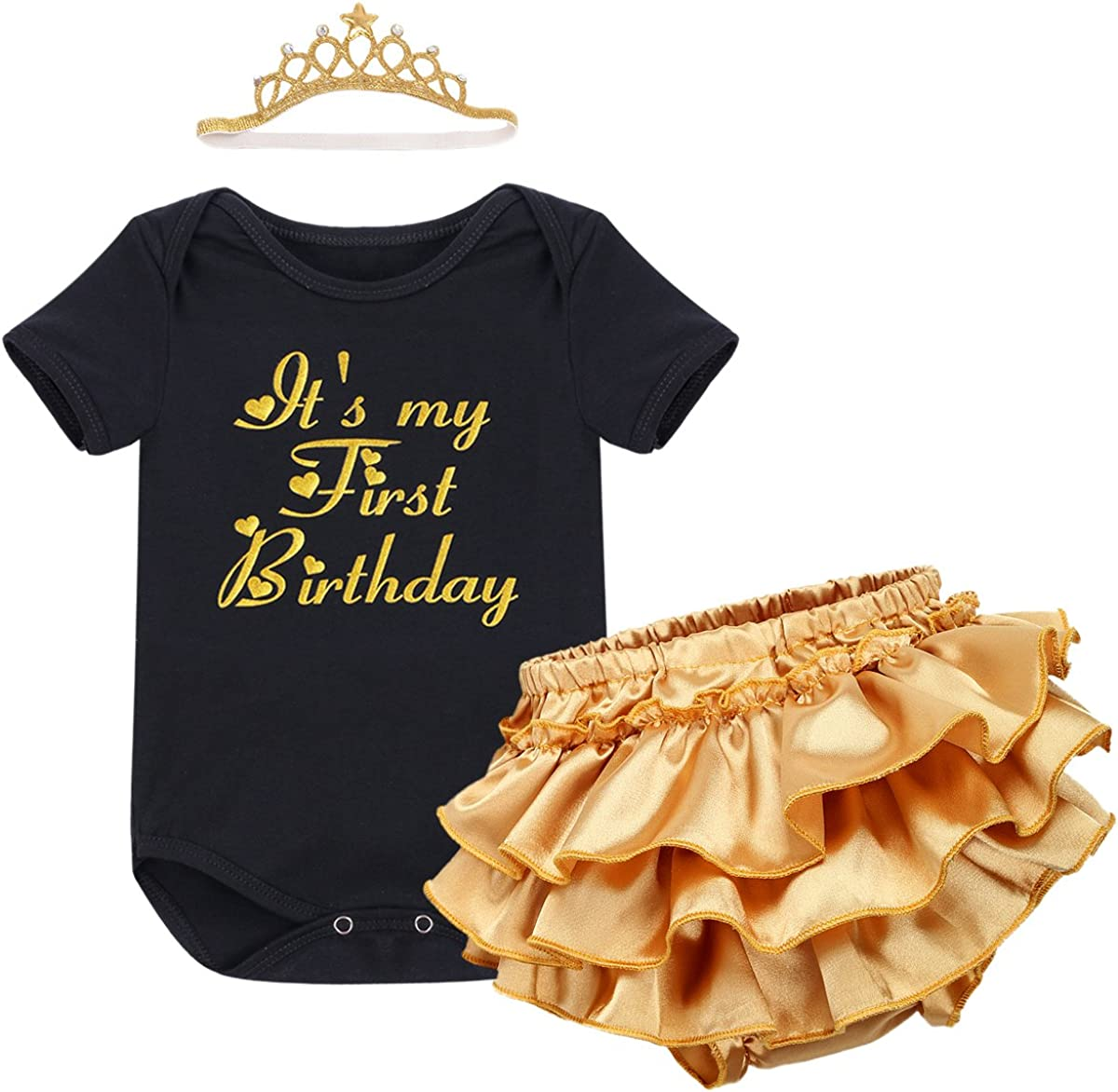 IWEMEK Girl My 1st Birthday Cake Smash Outfit Romper Tutu Skirt Headband Clothes