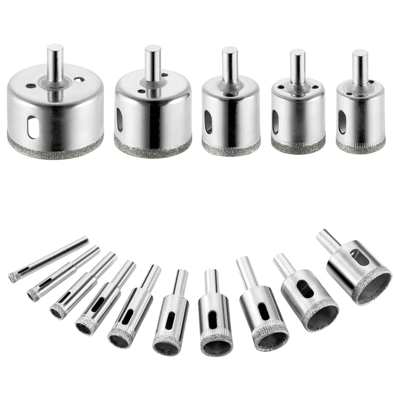 15PCS Diamond Drill Bits, Tile Hole Saw Remover Tools for Ceramic Glass, Porcelain, Granite Stone Hollow Core Drill Bit Set 6-50mm