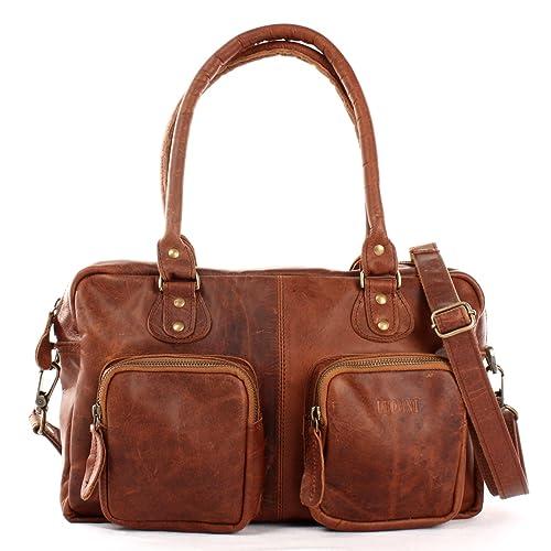 LECONI Schultertasche aus Rinds Leder Henkeltasche Damentasche für Shopping, Arbeit und Freizeit Used Look Damen Natur Handtasche Frauen Ledertasche