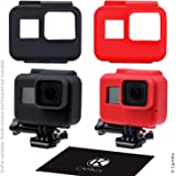 Silicone Sleeve Cases for The Frame Gopro Hero 7/6 / 5-2 Protective Covers - Black/Red - Protection for GoPro Camera Inside The Frame - Against Dust, Scratches and Light Shocks