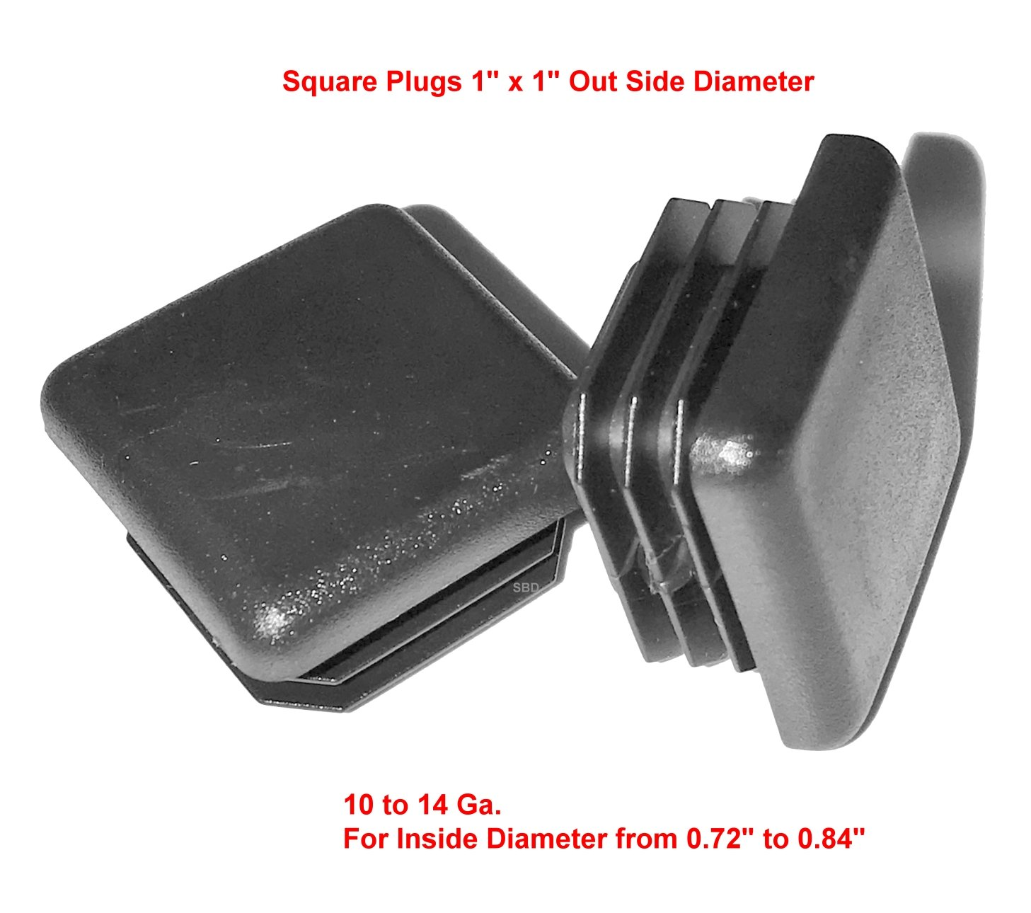 1.5 inch Square Plastic Tubing Plug End Cap Lot of 10