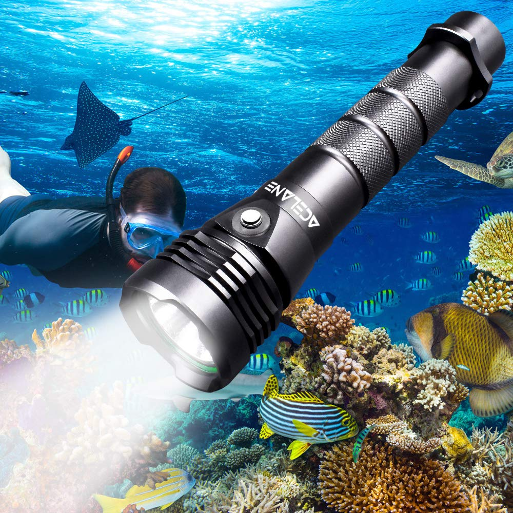 Acelane Dive Light Scuba Diving Flashlight Underwater Diving Light 80M 2000 Lumens Waterproof Torch Light Submarine Lights with Rechargeable 26650 Battery & USB Charger by Acelane