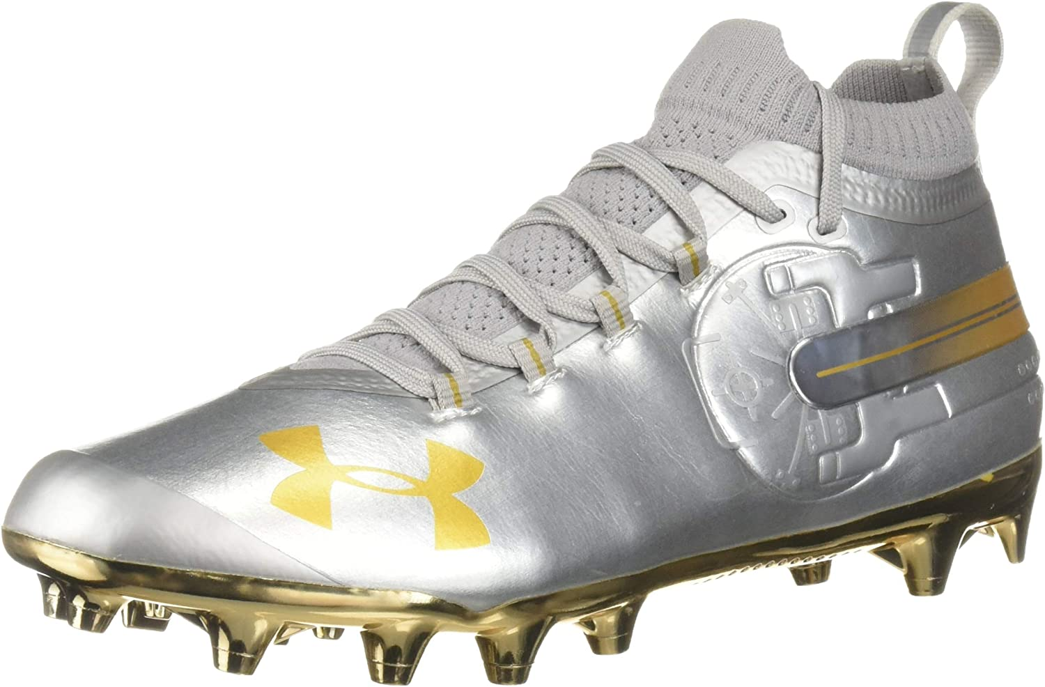 Under Armour Men's Spotlight-Limited Edition Football Shoe, 銀 (100)/Metallic ゴールド, 10