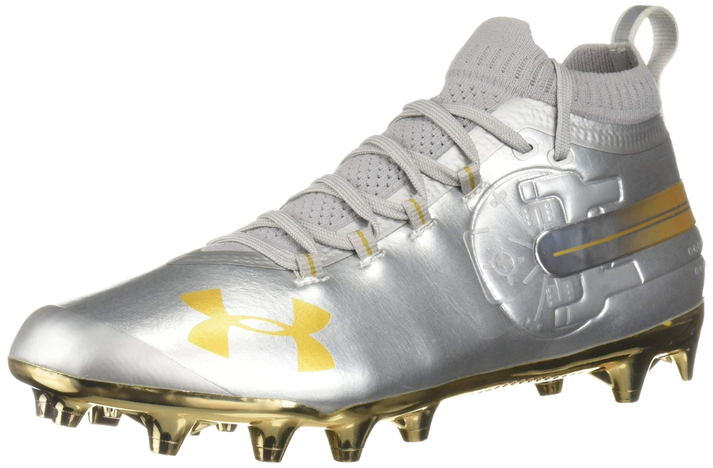 Under Armour Men's Spotlight-Limited Edition Football Shoe, Silver (100)/Metallic Gold, 11 by Under Armour