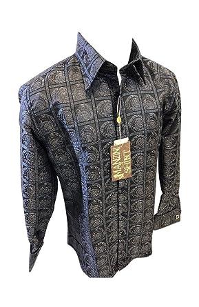 070423a6e9d Flash Apparel Mens Manzini Button Down Dress Shirt Black Paisley Designer  French Cuff 271 NWT (