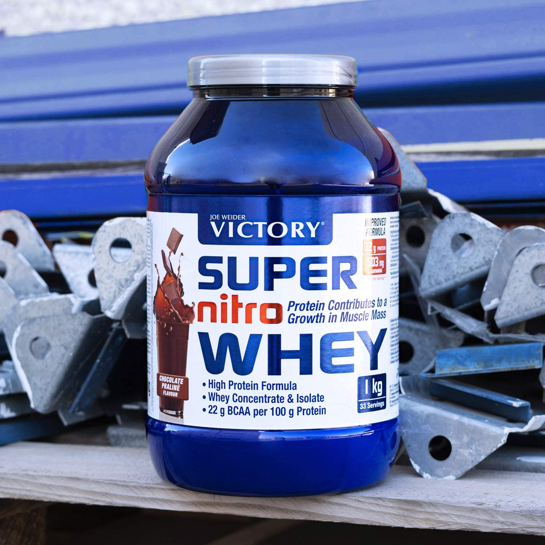 Victory Super Nitro Whey Vainilla (2,2 kg). Concentrado y aislado de suero. fuente proteica rica en BCAAs. Recuperación muscular. Con L-Glutamina, ...