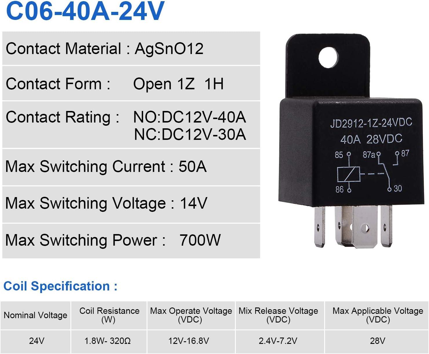 Ehdis Motor Relay 5 Pin 24V Coil 40amp Spdt Model No. JD2912-1Z-24VDC 40A 28...